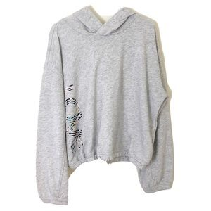 🎉 Old Navy Gray Hooded Cropped Sweatshirt Sz M